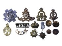 A group of collar and cap badges