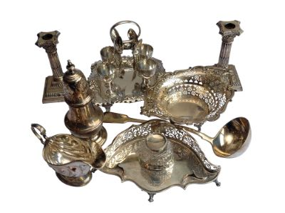 Mixed group of silver plated tablewear
