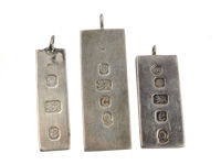 Three silver jewellery ingots