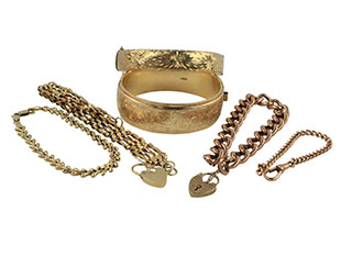 A photo of gold plated items